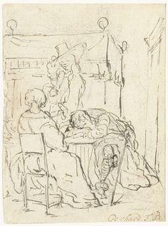 Gerard ter Borch (II) | Drinktafereel met een zittende dame, een slapende soldaat en een staande heer, Gerard ter Borch (II), 1655 - 1661 | Een drinktafereel met een zittende dame, op de rug gezien, een slapende soldaat met het hoofd op de armen aan tafel gezeten en een staande heer tussen de tafel en de bedstee op de achtergrond.