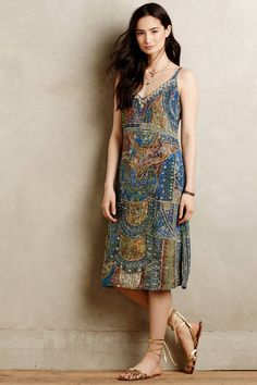 NWT ANTHROPOLOGIE LEIFSDOTTIR Sennen Beaded Silk Dress 0/2/4/6 (Blue Motif) $298 #Leifsdottir #Relaxedslipsilhouette