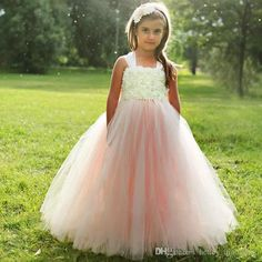Pink and ivory ball gown flower girl dress pageant gown for little child birthday party gowns - Welt der Hochzeit Blush Flower Girl Dresses, Tulle Flower Girl, Girls Tutu Dresses, Tutus For Girls, Flower Girls, Baby Girls, Dresses Uk, Kids Tutu, Long Dresses