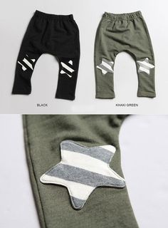 Star Knee patched Slouchy Pants for boys and girls aged 2-7. Cool, play ready, kids fashion at Color Me WHIMSY.