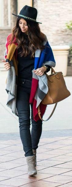 Blanket Scarf + Hat, #street-style #accessories