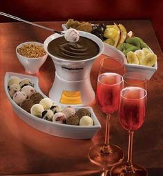 Chocolate fondue - a fun and delicious idea to have for company.