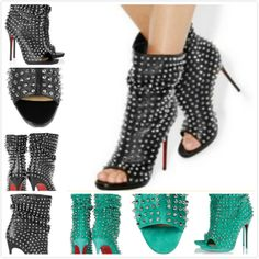 new 2014 designer brand women peep toe genuine leather with spikes red bottom high heels boots,fashion platform pumps shoes $93.63