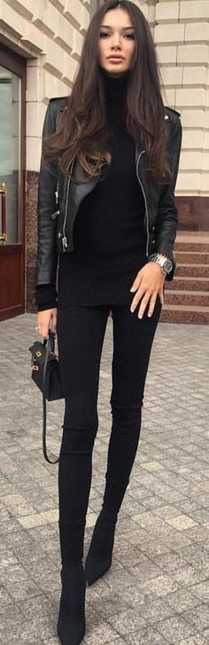 #spring #outfits woman wears black zip-up denim jeans and black leather biker jacket. Pic by @chicnchic_factory