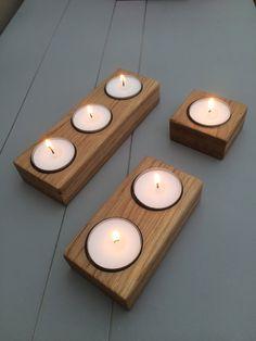 Tea Lights - Solid Oak Handmade tea light holder