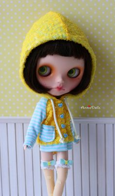 PO - Anniedollz Handmade Blythe Outfits Fluorescent Sequins Hoodie - Lemon