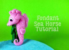 Under the Sea Themed Tutorial: Fondant Sea Horse - Bake Happy Cake Decorating Techniques, Cake Decorating Tutorials, Fondant Toppers, Fondant Cakes, Sirenita Cake, Nemo Cake, Sea Cakes, Animal Cupcakes, Fondant Animals