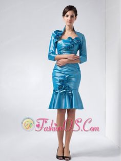 Sweet Baby Blue Column Strapless Knee-length Taffeta Hand Made Flowers Prom Dress  http://www.fashionos.com  Perfect for your event! This beautiful dress is so awesome and stunning that will let you attract the public.The comfortable and strapless bodice features a sweetheart neckline and ruching details all-over the dress. On the curvy skirt, a big flower highlight the whole looking of the dress and the bowknot trimed down to the dress hem to complete the design.