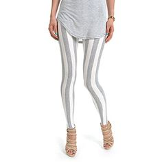 (NOL041-GRAY) Footless Stripe Pattern Stretchy Leggings