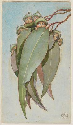 "inland-delta: ""May Gibbs, Illustration for Gum-Nut Babies, 1916 "" Fleurs Art Nouveau, Vintage Fairies, Dibujos Cute, Flower Fairies, Woodland Creatures, Fairy Art, Australian Artists, Children's Book Illustration, Book Illustrations"