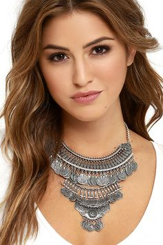 Past and Present Silver Statement Necklace at Lulus.com!