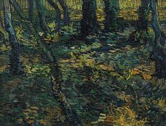 Van Gogh - Undergrowth, 1889 - Van Gogh, not allowed to leave the premises of the hospital at Saint-Rémy: 'since I have been here, I have had enough work with the overgrown garden with its large pine trees, under which there grows tall and poorly-tended grass, mixed with all kinds of periwinkle.'   He painted this view of the growth beneath the ivy-clad trees. The effect of light and shade created an almost abstract pattern, with small arcs of paint covering the entire surface of the canvas.