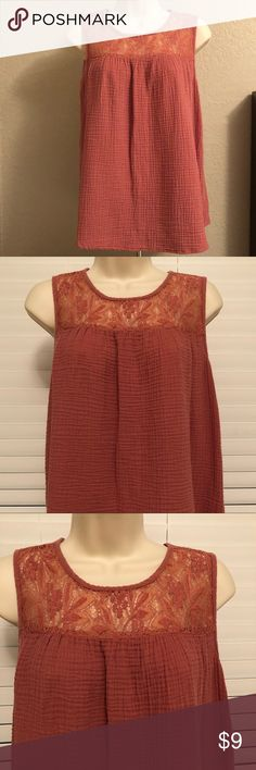 Knox Rose tank Worn once. Please see all pictures and ask any questions! I would call this color between a dark coral or a light rust color. Or even a really dark pink. Material is soft and flowing. knox Rose Tops Tank Tops