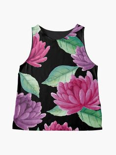 Alternate view of Pretty Colorful and Charming Pink and Purple Floral Print Sleeveless Top Floral Jacket, Floral Leggings, Floral Jumpsuit, Floral Romper, Floral Fashion, Fashion Dresses, Blouses For Women, Women's Blouses, Pretty Shirts