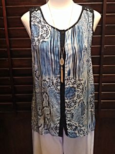 Emma G - Blue and black multicolor tank with front buttons - $42