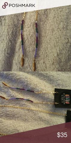 SALE! Function & Fringe beautiful dangle earring These earrings are beautiful in two shades of purple and jade green.  They are 5 inches. Function & Fringe Jewelry Earrings