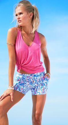"""Lilly Pulitzer 5"""" Callahan Short shown in Red, Right, Return. SAILBOATS."""