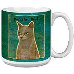Russian Blue Cat Mug John W. Golden Artful Jumbo Mug, 20-Ounce