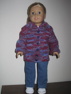 Hand Knit Sweater Jacket with Jeans and T Shirt for American Girl and Similar 18 Inch Dolls. $39.00, via Etsy.