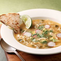 #Recipe of the Day: Caldo Tlalpeño is a savory Mexican-style soup. In this version of the traditional dish, radish, avocado and cilantro make a beautiful garnish, and brown rice adds a dose of heart-healthy fiber #soup #recipe #mexicanrecipe #healthysoup