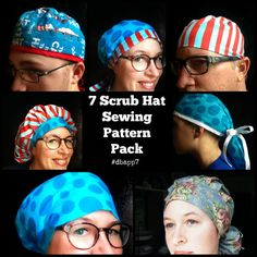 Scrub Hat Sewing Pattern tutorial DIY 7 surgical scrub cap sewing instructions PDF Instant Download