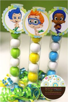Bubble Guppy Tags with Clear Candy Tubes 12ct by itzwhimzeycal, $19.50