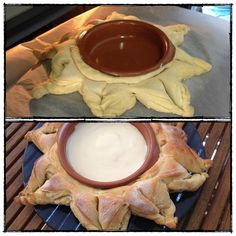 Sun shaped crescent rolls food