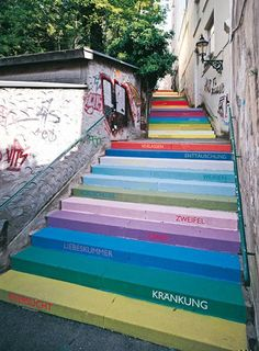 Wuppertal Germany. The 112 Steps are painted and the various colors express different emotions.