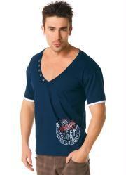 camiseta decote v azul