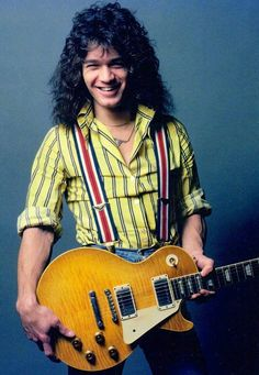 """BEAUTIFUL PIK OF EDDIE VAN HALEN WITH A GIBSON LES PAUL GUITAR CIRCA '80-'81!"""