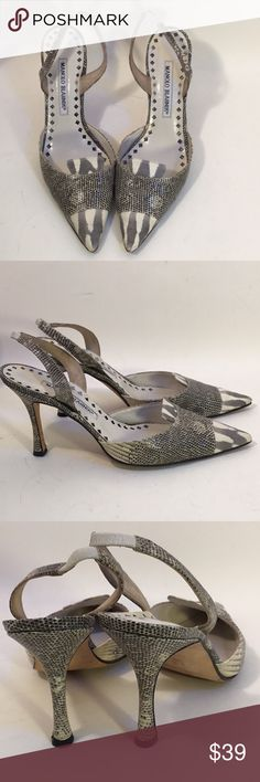 """Manolo Blahnik Snakeskin Leather Slingback Heels Previously worn, they are still in good condition. These cream and gray sling backs have a 3-1/2"""" heel. Manolo Blahnik Shoes Heels"""