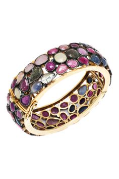 Tiered Multi Sapphire Bangle