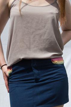 dark blue mini skirt with rainbow highlights - 4 pockets & denim-like