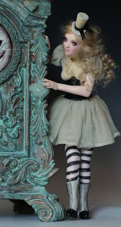 THROUGH THE LOOKING GLASS -WONDERLAND CLOCK -ALICE -WHITE RABBIT by Nicole West