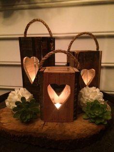 Rustic Heart Candle Lanterns set of 3Wedding by RusticShedHeads