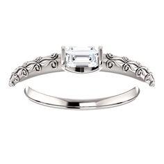 10kt White Gold 5x3mm Center Emerald Genuine Diamond Engagemnet Ring...(ST71684:612:P).! Price: $749.99