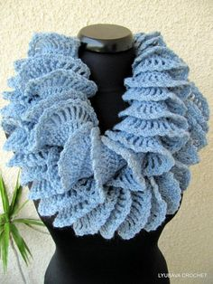 Looking for crocheting project inspiration? Check out Double Ruffle Crochet Scarf Blue-Gray by member Lyubava Crochet.