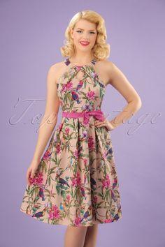 418c10132bf5 Lindy Bop Cherel Pink Tropical Birds Swing Dress 21231 20180102 1W Tropical  Flowers, Tropical Birds
