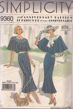MOMSPatterns Vintage Sewing Patterns - Simplicity 9360 Vintage 80's Sewing Pattern Discontinued 60th Anniversary 1920s Capelet Town Dress Repro Size 6-12 CUT to 10