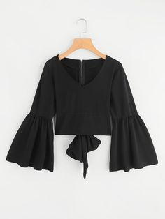 Shop Flare Sleeve Bow Tie Back Blouse online. SheIn offers Flare Sleeve Bow Tie Back Blouse & more to fit your fashionable needs. Teen Fashion Outfits, Girl Fashion, Casual Outfits, Fashion Dresses, Fashion Design, Pretty Outfits, Cute Outfits, Moda Vintage, Blouse Designs