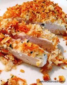 Pollo al horno con costra de parmesano
