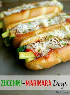 Zucchini_Marinara Dogs NoblePig.com. Great meal for Meatless Monday.