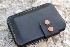 Monedero, billetera los hombres, cuero tarjeta soporte cuero, hecho a mano