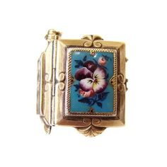 Victorian Gold Filled Enamel Pansy Locket | eBay