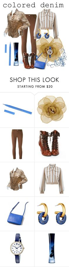 """""""Brown Colored Jeans.."""" by marlenajo-b ❤ liked on Polyvore featuring Stila, Alba Rosa Mancini, J Brand, Valentino, Fendi, Sergio Rossi, Catherine Canino Jewelry, Marc by Marc Jacobs, Giorgio Armani and coloredjeans"""