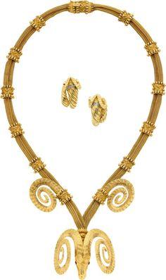 Diamond, Ruby, Gold Jewelry Suite