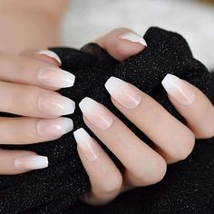 Aaviland Pink Nude White French Ballerina Coffin False Nails Gradient Natural Manicure Press On Fake Nails Tips Daily Office Finger Wear Wedding Nail Polish, Wedding Nails, French Nails, White Nails, Red Nails, Nail Polish Designs, Nail Designs, Nagel Blog, Nail Length