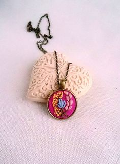 Woodland jewelry Flower necklace Hand Embroidery jewelry Pink