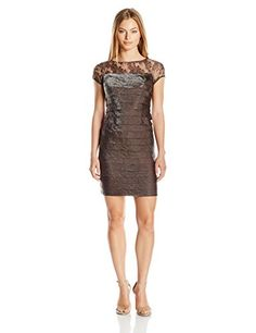London Times Womens Petite Shimmer Shutter Layered Dress with Metallic Lace Yoke Sable 6P * Click image for more details. (This is an affiliate link) #Lacedresses