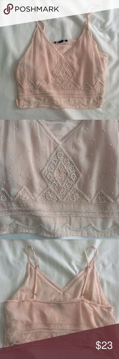 508783b1003b Pink Beaded Crop Top Cami Light pink with beautiful beaded detail. Chiffon  overlay. Adjustable